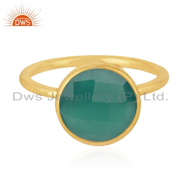 Green Onyx Gemstone 925 Sterling Silver Gold Plated Stackable Ring Manufacturers