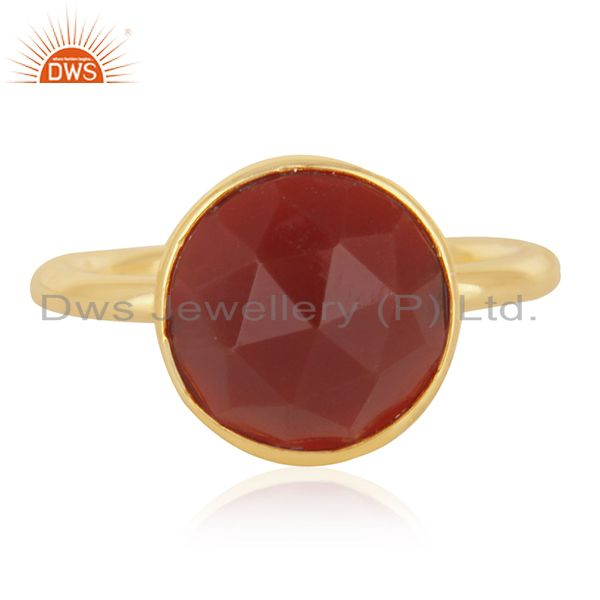 Red Onyx Gemstone Gold Plated 925 Silver Ring Jewelry Manufacturer for Brands