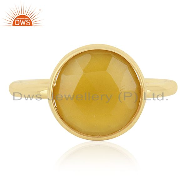 Yellow Chalcedony Gemstone Gold Plated Sterling Silver Ring Manufacturers