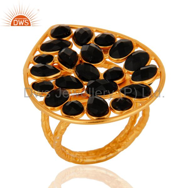Natural Black Onyx Gemstone Ring Set In 18K Yellow Gold Over Sterling Silver