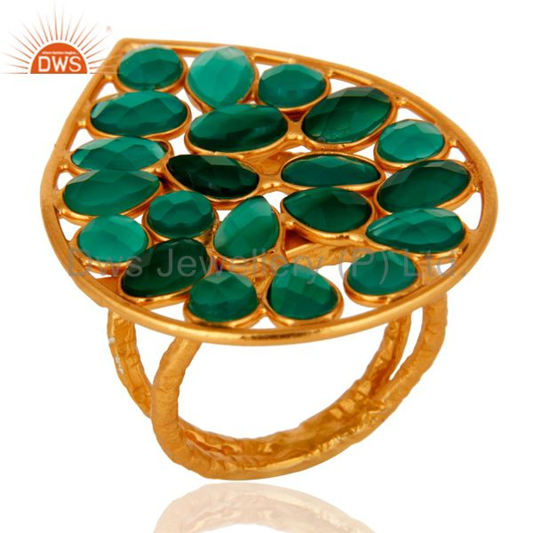 24K Yellow Gold Plated Sterling Silver Green Onyx Gemstone Fashion Ring