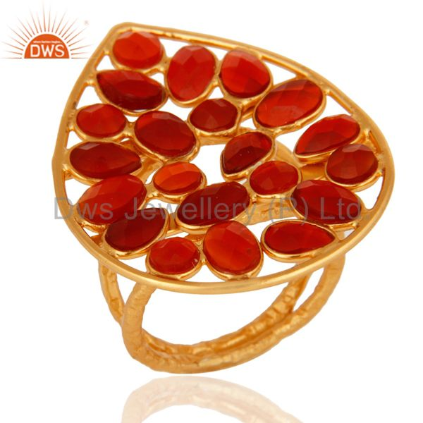 Handmade Sterling Silver With Yellow Gold Plated Red Onyx Gemstone Ring