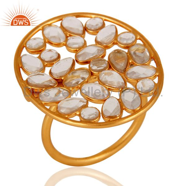 Handmade 18K Gold Plated 925 Sterling Silver White Cubic Zirconia Designer Ring