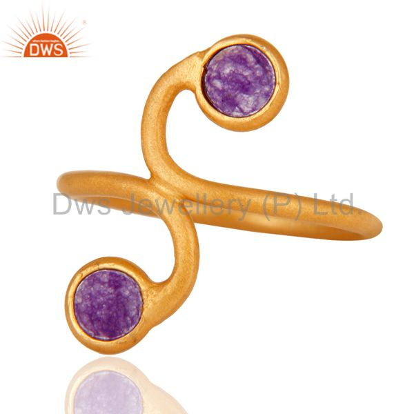 18K Gold Plated 925 Sterling Silver Purple Aventurine Gemstone Handmade Ring