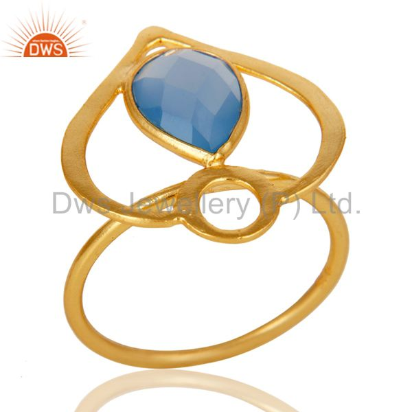 18K Gold Plated Sterling Silver Blue Chalcedony Art Deco Statement Ring