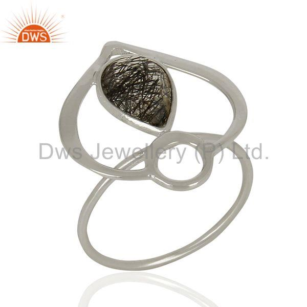 Handmade Black Rutile Gemstone Sterling Fine Silver Fashion Ring