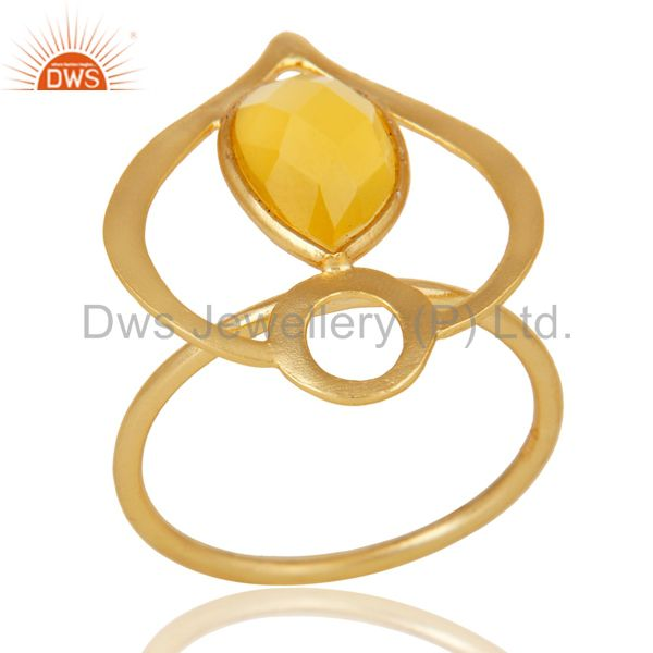 18K Gold Plated Sterling Silver Yellow Chalcedony Art Deco Statement Ring