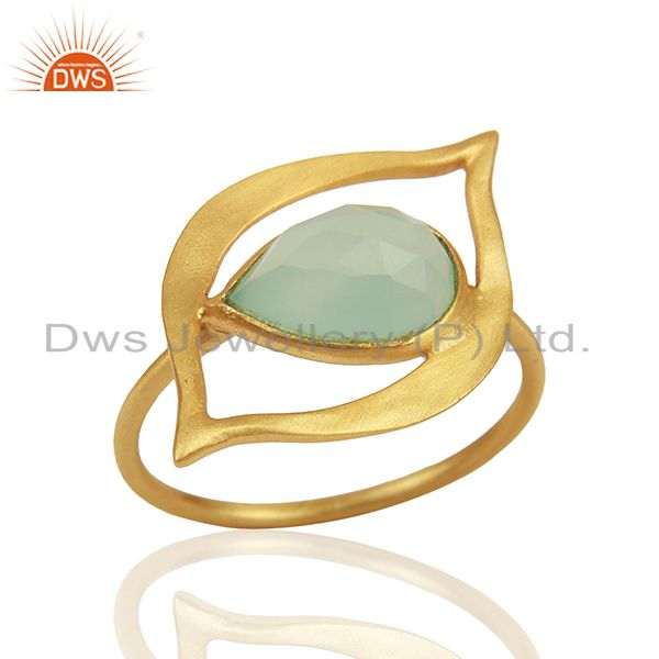Aqua Chalcedony Evil Eye Designer Gold Plated Sterling Silver Wholesale Ring