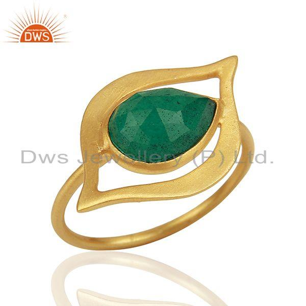 Emerald Dyed Evil Eye Designer Gold Plated Sterling Silver Wholesale Ring