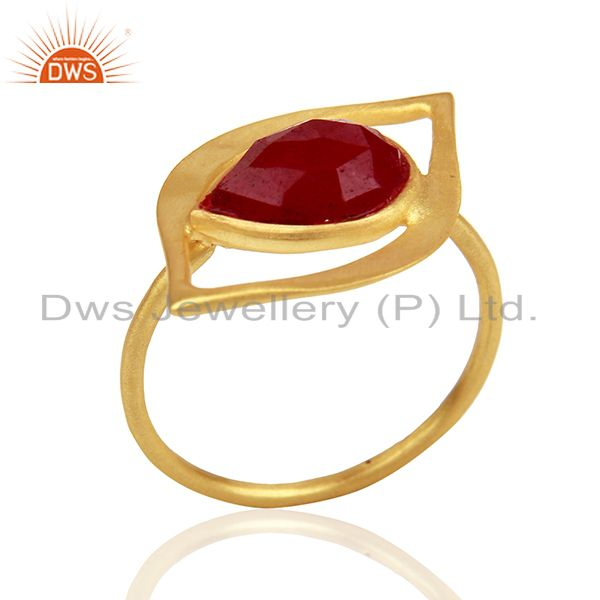 Ruby Dyed Evil Eye Designer Gold Plated Sterling Silver Wholesale Ring