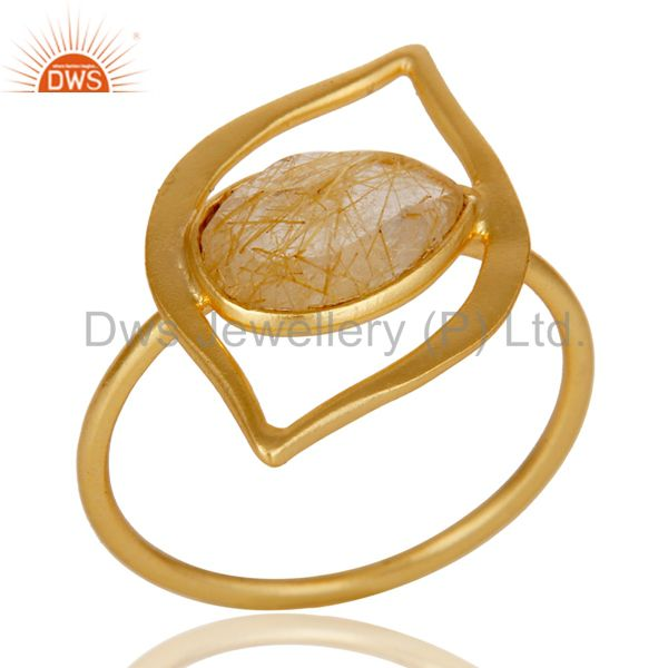 Art Deco 18K Gold Plated Sterling Silver Yellow Rutile Designer Ring