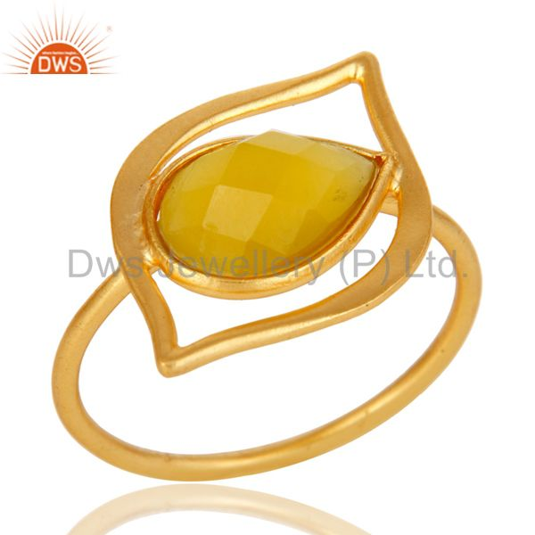 Art Deco 18K Gold Plated Sterling Silver Yellow Chalcedony Designer Ring