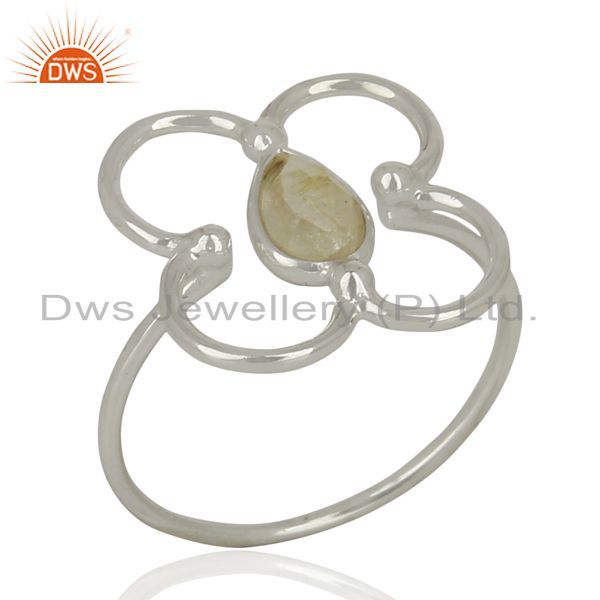 925 Sterling Fine Silver Designer Golden Rutile Gemstone Ring Supplier