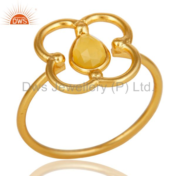 Yellow Chalcedony Art Deco 18K Gold Plated Sterling Silver Designer Ring