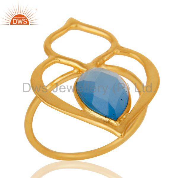 Blue Chalcedony 18K Gold Plated Sterling Silver Art Deco Style Designer Ring
