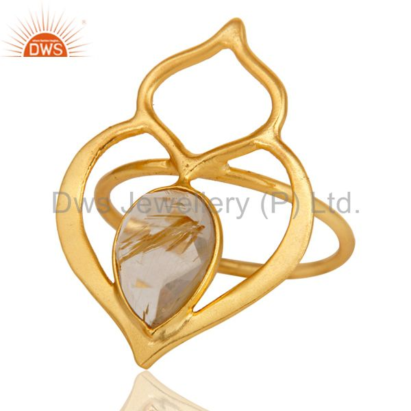 Golden Rutile 18K Gold Plated Sterling Silver Art Deco Style Designer Ring