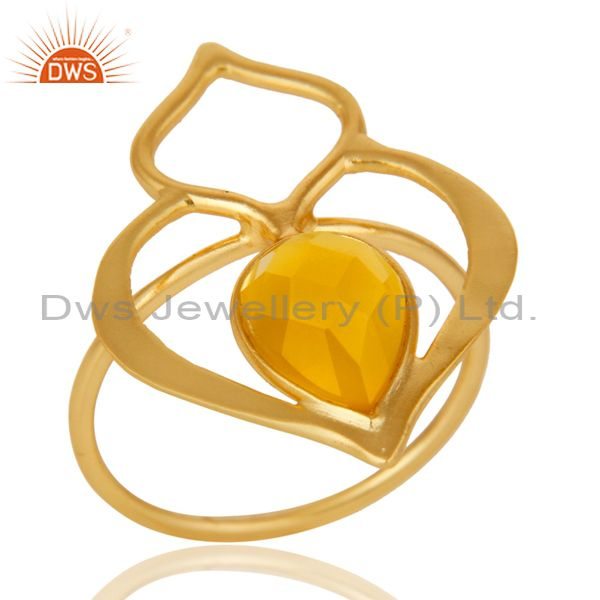 Yellow Chalcedony 18K Gold Plated Sterling Silver Art Deco Style Designer Ring