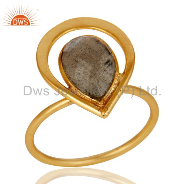 18K Gold Plated Labradorite Sterling Silver Art Deco Style Designer Ring