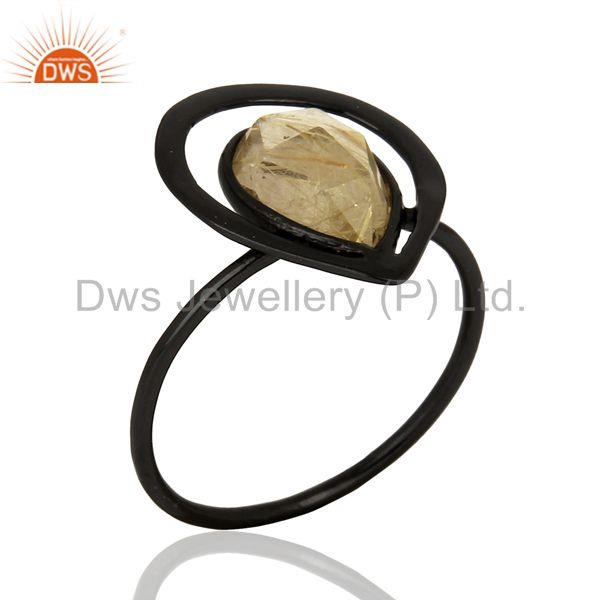 Black Rhodium Plated Silver Rutile Gemstone Rings Manufacturer