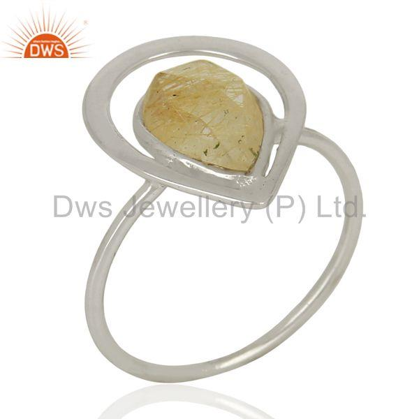 Designer 925 Sterling Silver Rutile Gemstone Ring Jewelry Supplier