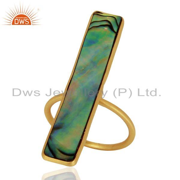 Natural Abalone Shell Rectangle 92.5 Sterling Silver 14K Gold Plated Rings