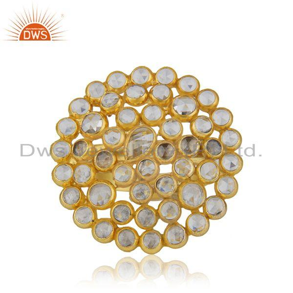 Natural CZ Beaded Gemstone Floral Gold Plated Silver Ring Jewelry