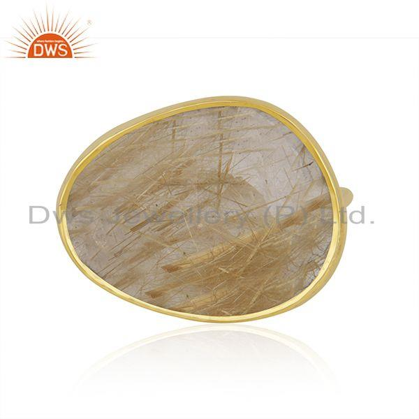 Handmade 14k Solid Yellow Gold Rutile Golden Gemstone Ring Supplier in Jaipur