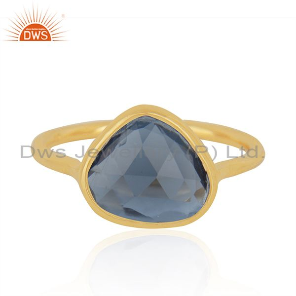 London Blue Topaz Gold Plated 925 Silver Ring Manufacturer India