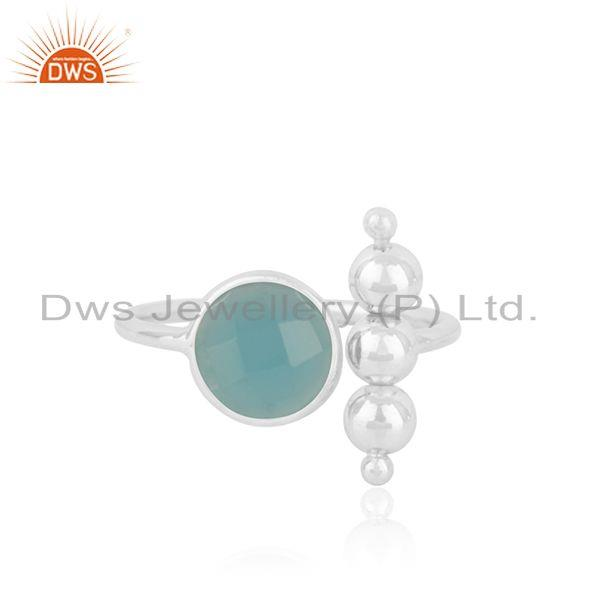 Aqua Chalcedony Gemstone 925 Fine Silver Designer Ring Wholesaler India