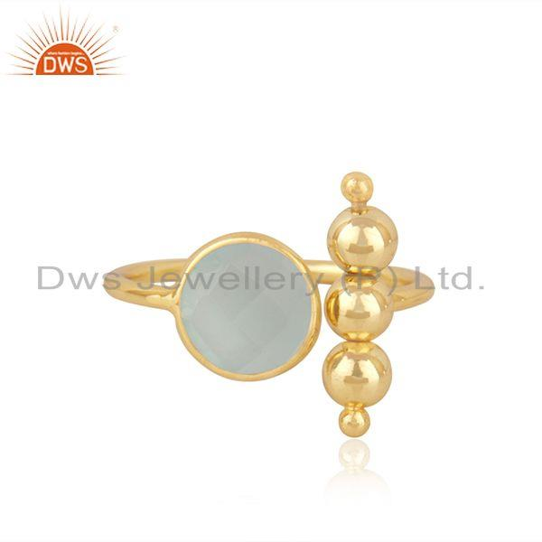 Aqua Chalcedony Gemstone Gold Plated 925 Silver Designer Ring Wholesale