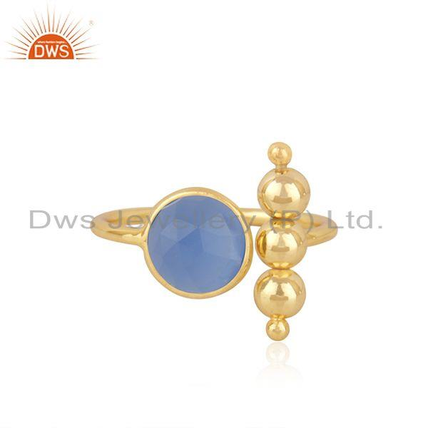 Blue Chalcedony Gemstone 925 Silver Gold Plated Designer Ring Wholesale Supplier