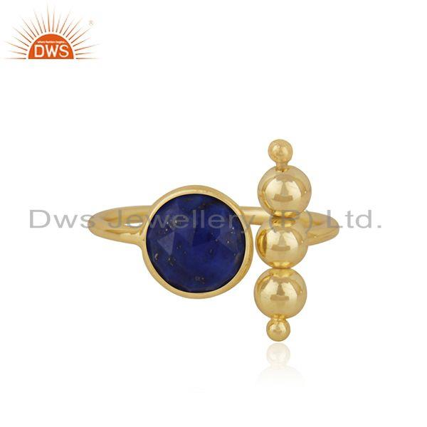 Lapis Lazuli Gemstone 925 Silver Gold Plated Designer RIng Manufacturer INdia