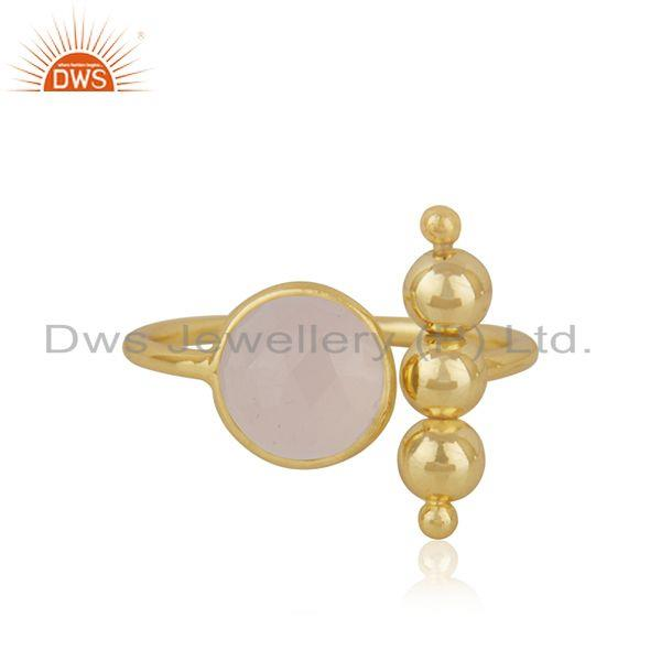 Rose Chalcedony Gemstone 925 Silver Gold Plated Designer Ring Manufacturer INdia