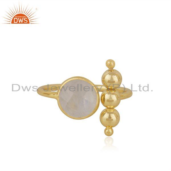 Designer Gold Plated 925 Silver Rainbow Moonstone Promise Ring Manufacturer