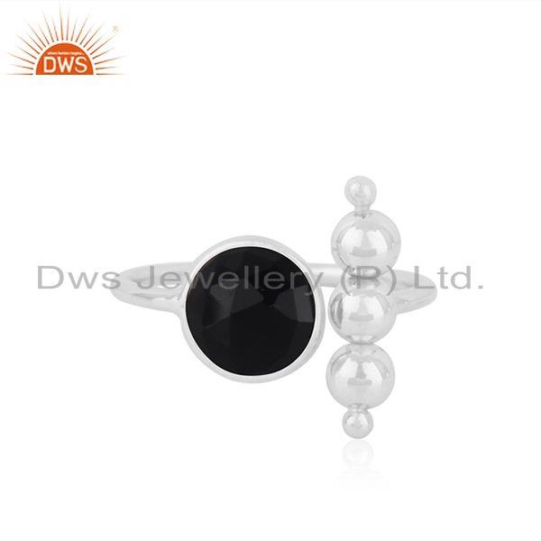 Black Onyx Fine Sterling 92.5 Silver Gemstone Ring Manufacturer INdia