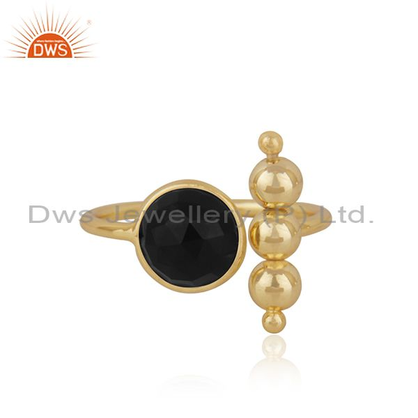 Designer 925 Silver Gold Plated Black ONyx Gemstone Fashion Ring Manufacturer