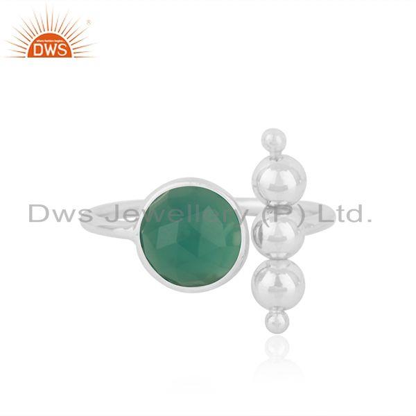 92.5 Fine Sterling Silver Green ONyx Gemstone Designer Promise Ring For Girls