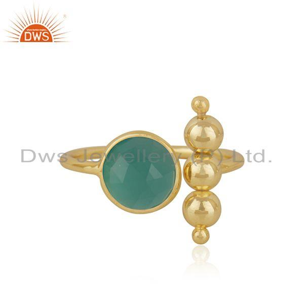 Green Onyx GEmstone Sterling Silver Gold Plated Designer Ring Manufacturer India