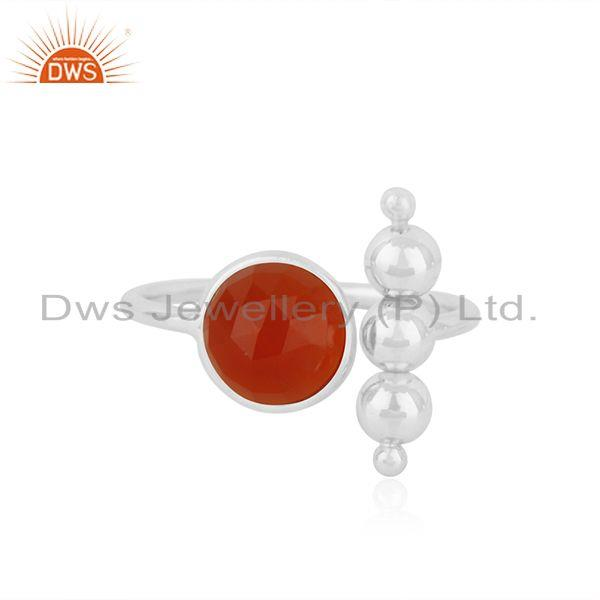 92.5 Sterling Fine Silver Red ONyx Gemstone Trendy Ring Manufacturer India
