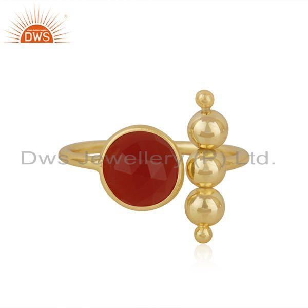 Red Onyx Gemstone 925 Silver Gold Plated Promise Ring Manufacturer INdia