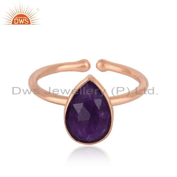 Purple Aventurine Gemstone Rose Gold Plated Adjustable Silver Rings