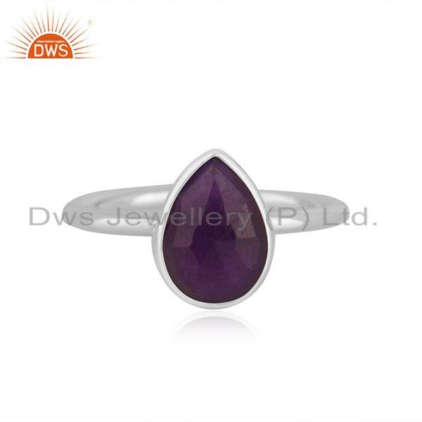 Aventurine Purple Gemstone Fine Sterling Silver Ring Manufacturer India