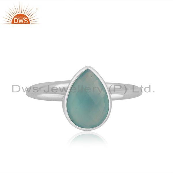 Aqua Chalcedony Gemstone Sterling Fine Silver Handmade Ring Wholesale