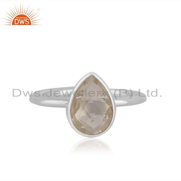 Crystal Quartz Fine Sterling Silver Handmade Ring Jewelry For Girls Wholesale