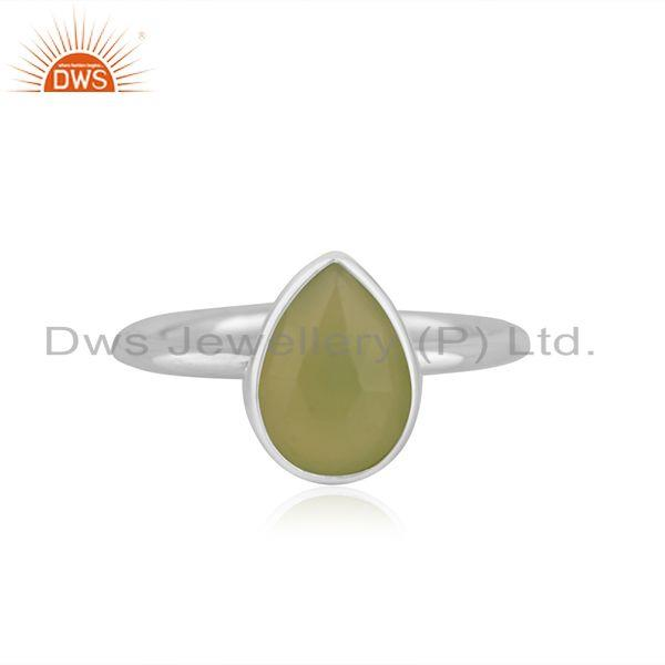 Prehnite Chalcedony Gemstone Fine Sterling Silver Ring Manufacturer in Jaipur