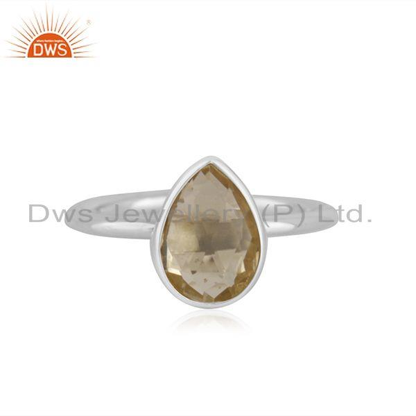 Lemon Topaz Gemstone Handmade 925 Sterling Silver Ring Wholesaler in India