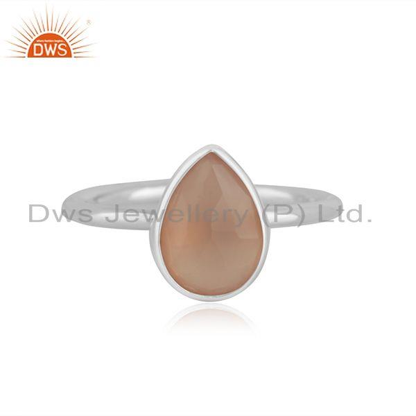 Rose Chalcedony Gemstone 925 Sterling Fine Silver Ring Manufacturers indias