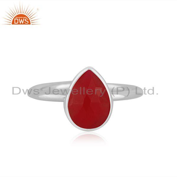 Pink Chalcedony Gemstone Fine Sterling Silver Ring Manufacturer India