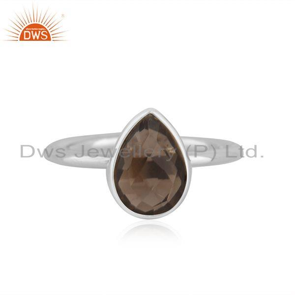 Smoky Quartz Fine Sterling Silver Handmade Customized Ring Manufacturer in India