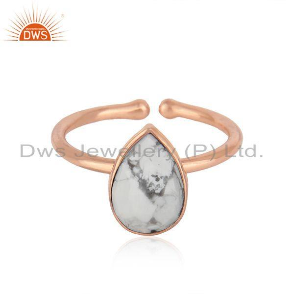 Rose Gold Plated 925 Silver Howlite Gemstone Adjustable Ring Jewelry